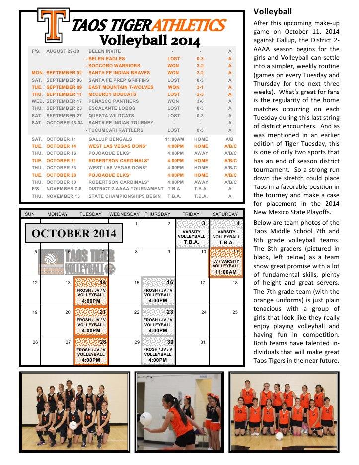 Taos Tiger Tuesday - October 07, 20146