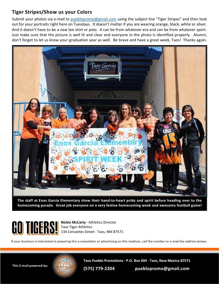 Taos Tiger Tuesday - October 07, 20149