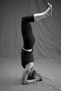 Genevieve Oswald in Sirsasana 1 Variation (Bent Knees), by Zoe Zimmerman for Sundara Studios 2013