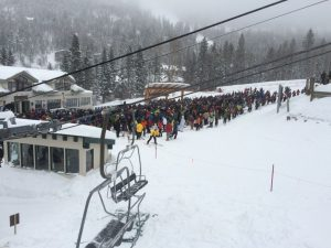 The longest line I've ever seen at TSV, but no one in it got buried in an avalanche.