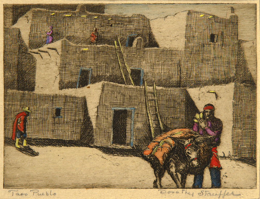 Dorothy Stauffer, Taos Pueblo, etching and watercolor, private collection