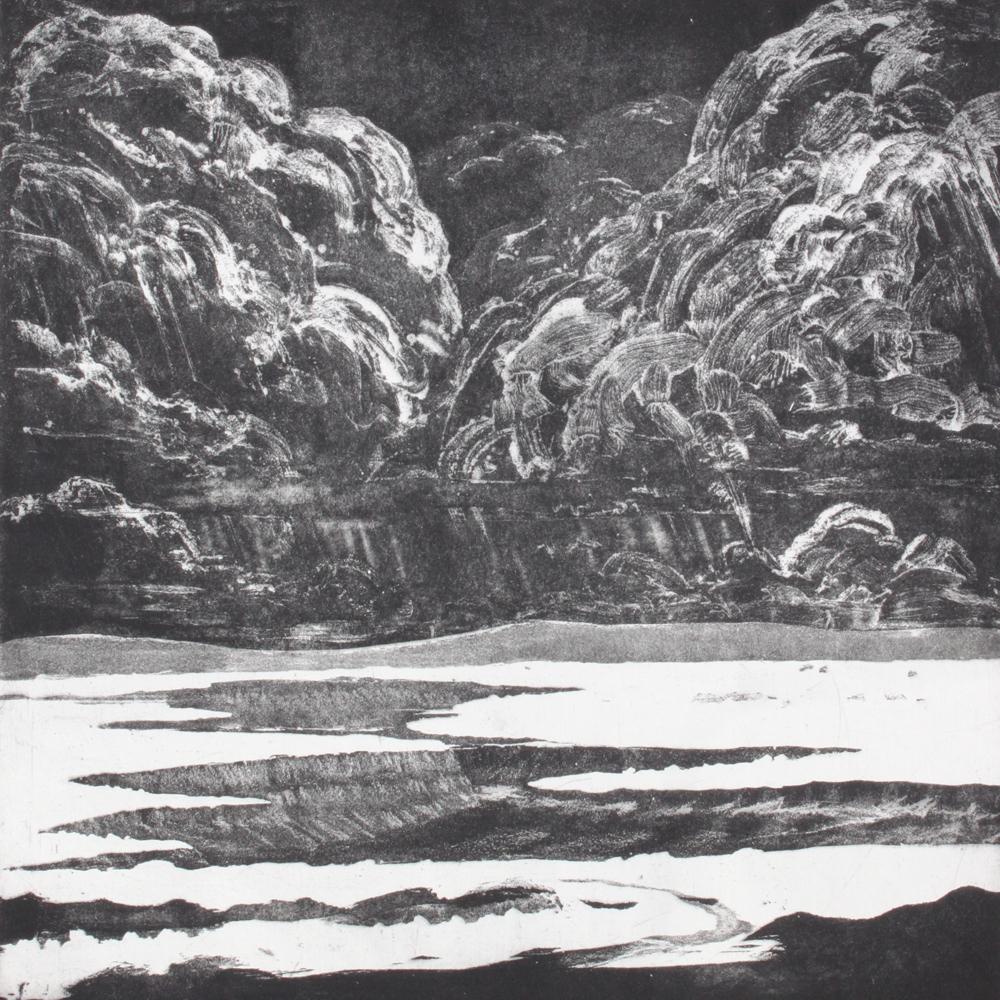 Geoffrey Lasko, Approaching Storm, 2014. Etching, aquatint, white ground, sugar lift.