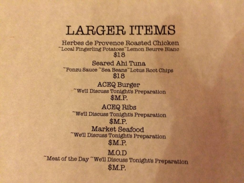 Aceq restaurant' vaugue and delightful menu