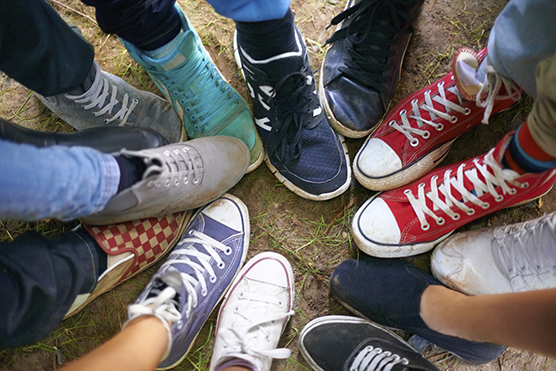 Image result for Picture of people wearing sneakers""